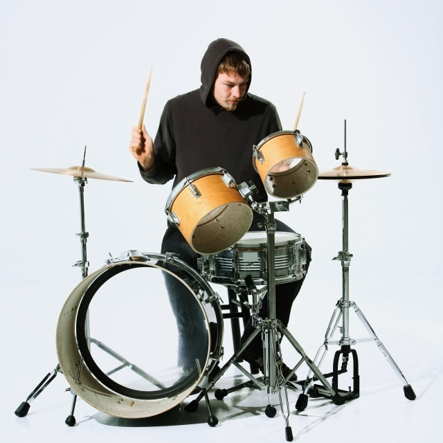 """""""A Young Man Playing The Drums"""" stock image"""