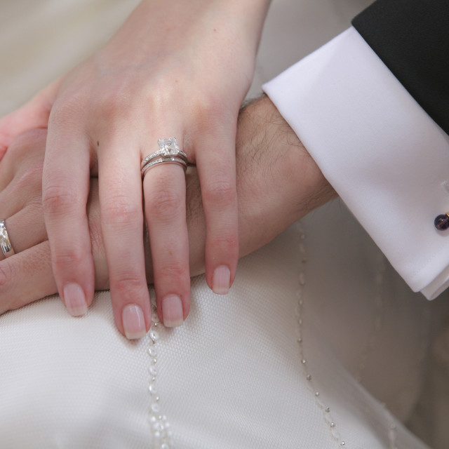 """""""Hands Of A Bride And Groom; Oregon, Usa"""" stock image"""