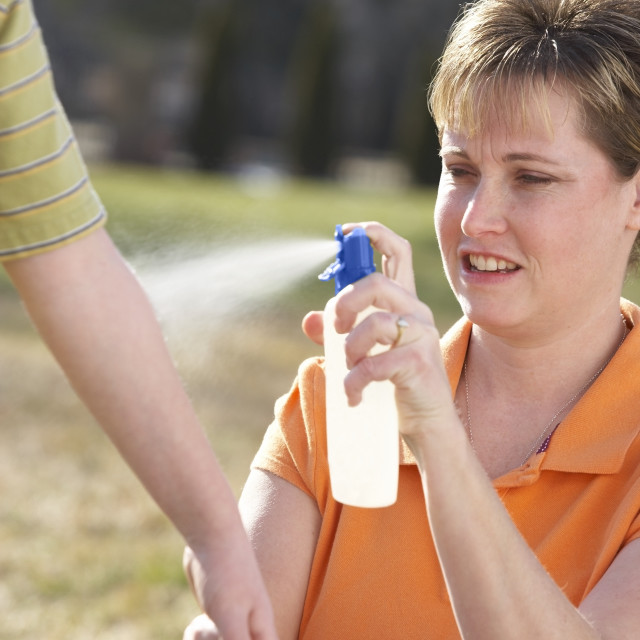 """""""A Mother Spraying Insect Repellent On A Child's Arm"""" stock image"""
