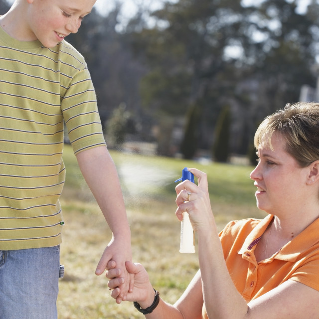 """""""A Mother Spraying Insect Repellent On Her Son's Arm"""" stock image"""
