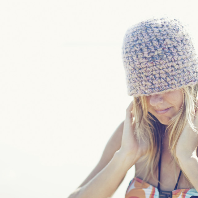 """A Girl Wearing A Beanie Hat; Portugal"" stock image"