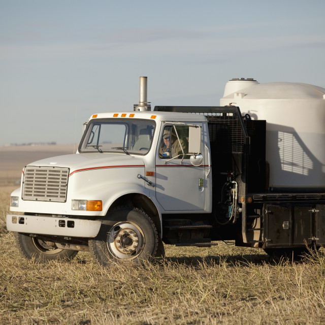 """A Farm Truck For Watering And Fertilizing; Three Hills, Alberta, Canada"" stock image"