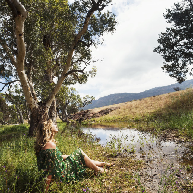 """Woman in the outback, Flinders Ranges; South Australia, Australia"" stock image"