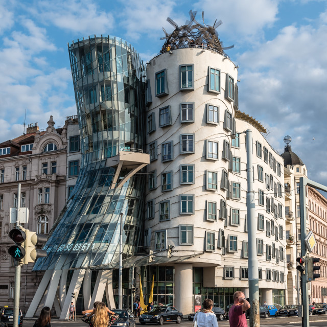 """""""Dancing house office building in Prague"""" stock image"""