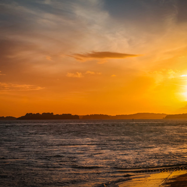 """Sunset at the Sandbanks"" stock image"