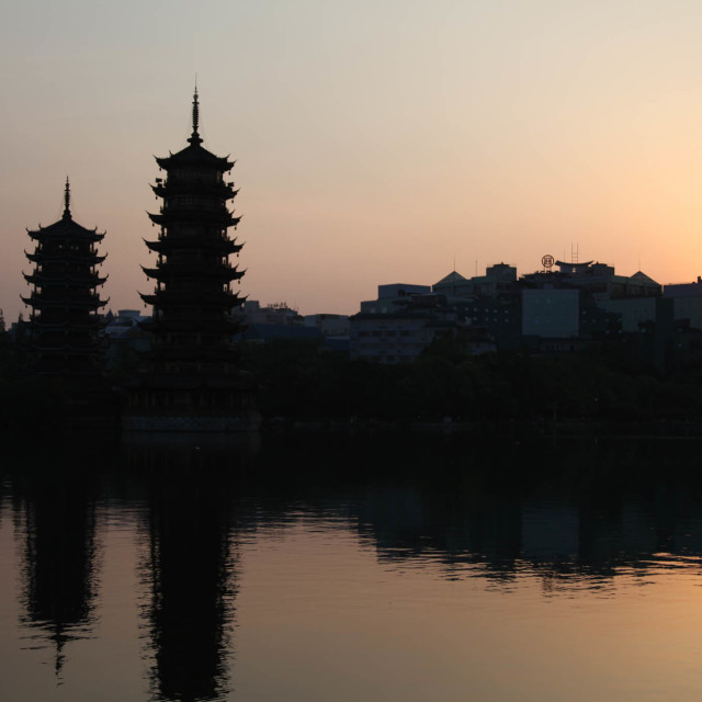 """Pagoda sunset"" stock image"
