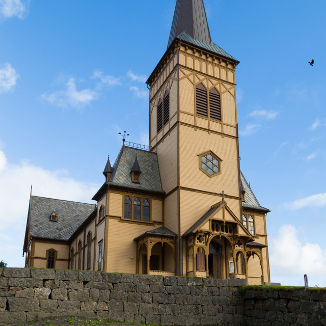 """Cathedral of Vagan kirke Lofotkatedralen"" stock image"