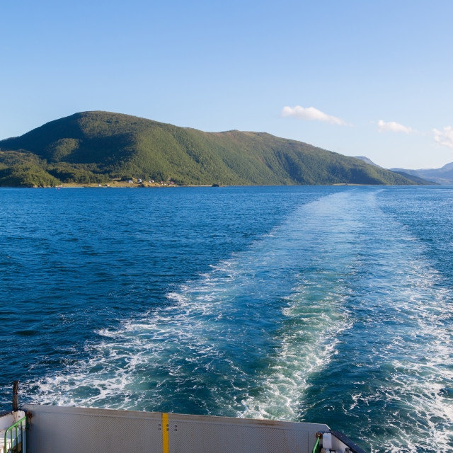 """""""View of the stern of a ferry in Norway"""" stock image"""