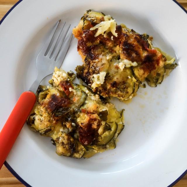 """Greek Cuisine. Homemade Boureki. Courgette and Potato Vegetable Pie"" stock image"