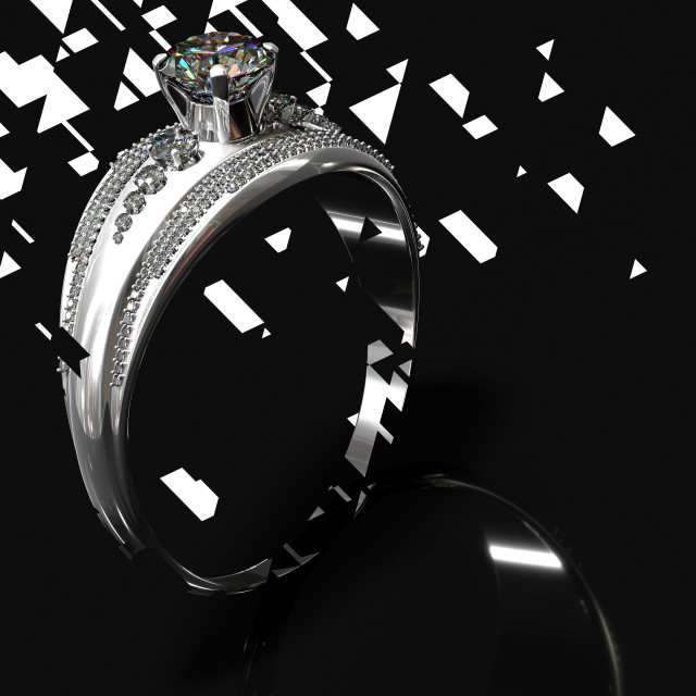 """Silver engagement band with diamond gem. Graphic design."" stock image"