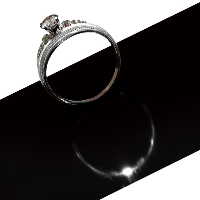 """""""Silver engagement band with diamond gem. Graphic design black and white."""" stock image"""