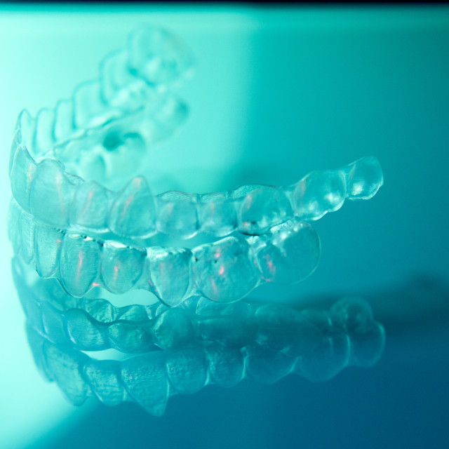 """Invisible orthodontic aligners brackets"" stock image"