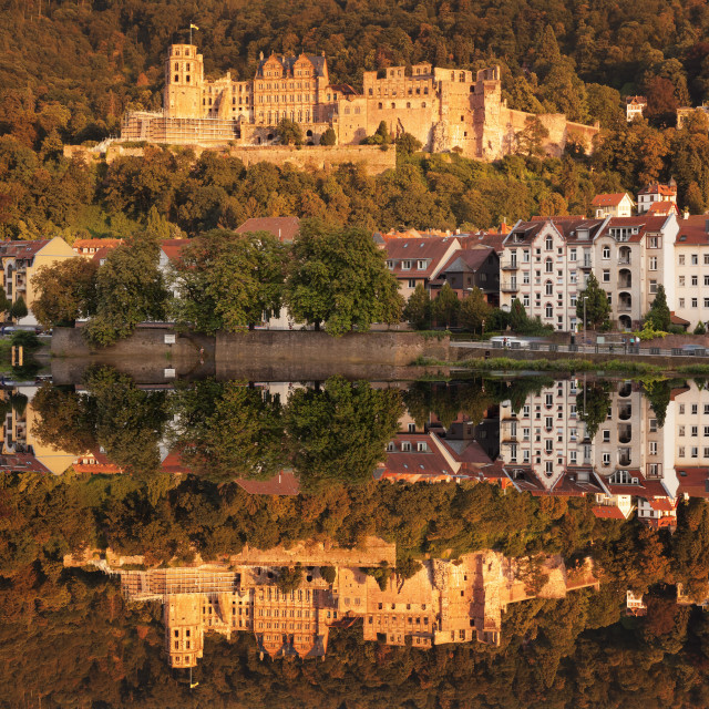 """""""View over the Neckar River to the castle at sunset, Heidelberg,..."""" stock image"""
