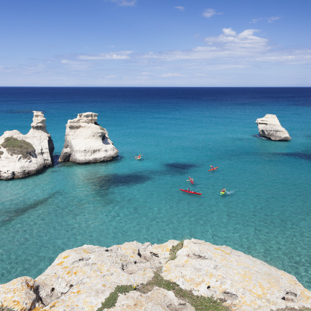 """Rocky coast near Torre dell'Orso, Due Sorello Rocks (Two sisters), Adriatic..."" stock image"