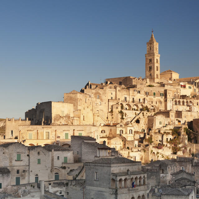 """Sasso Barisano and cathedral at sunset, UNESCO World Heritage Site, Matera,..."" stock image"