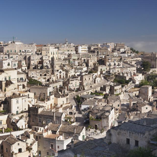 """View over Sasso Barisano to Monasterio di Sant'Agostino monastery, UNESCO..."" stock image"