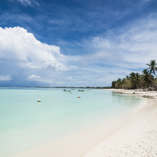 """White sand and turquoise water in the beautiful lagoon of Funafuti, Tuvalu"" stock image"