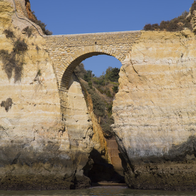 """Roman Bridge, near Lagos, Algarve, Portugal"" stock image"