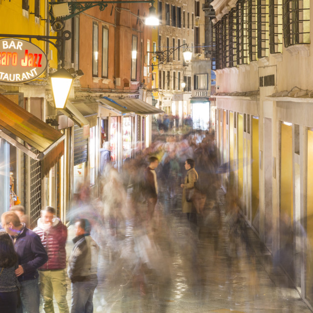 """Narrow Street at night, Venice, UNESCO World Heritage, Venetia, Italy, Europe"" stock image"