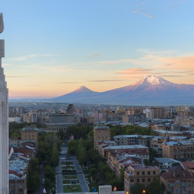 """Mount Ararat and Yerevan viewed from Cascade at sunrise, Yerevan, Armenia,..."" stock image"