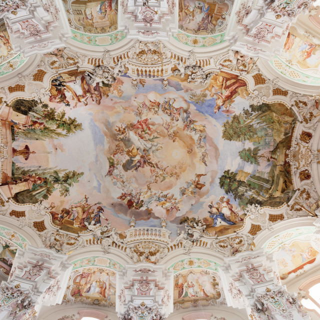 """Ceiling frecso, St. Peter and Paul church, Steinhausen, Upper Swabian Baroque..."" stock image"