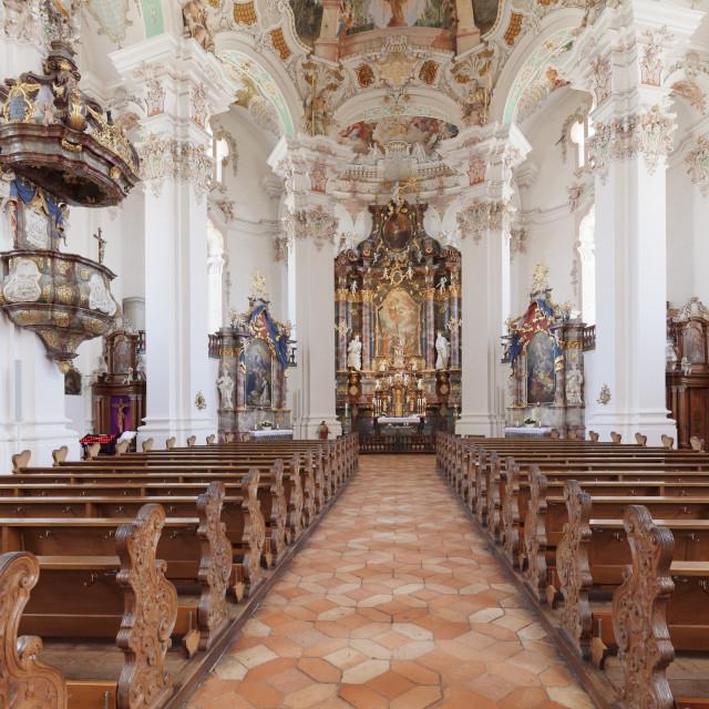 """St. Peter and Paul church, Steinhausen, Upper Swabian Baroque Route, Upper..."" stock image"