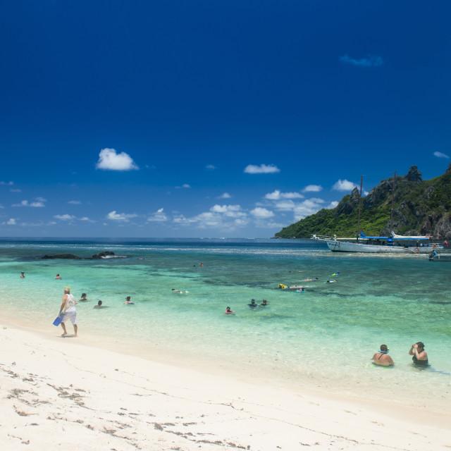 """Beautiful white sand beach on Monuriki or Cast away island, Mamanuca islands,..."" stock image"