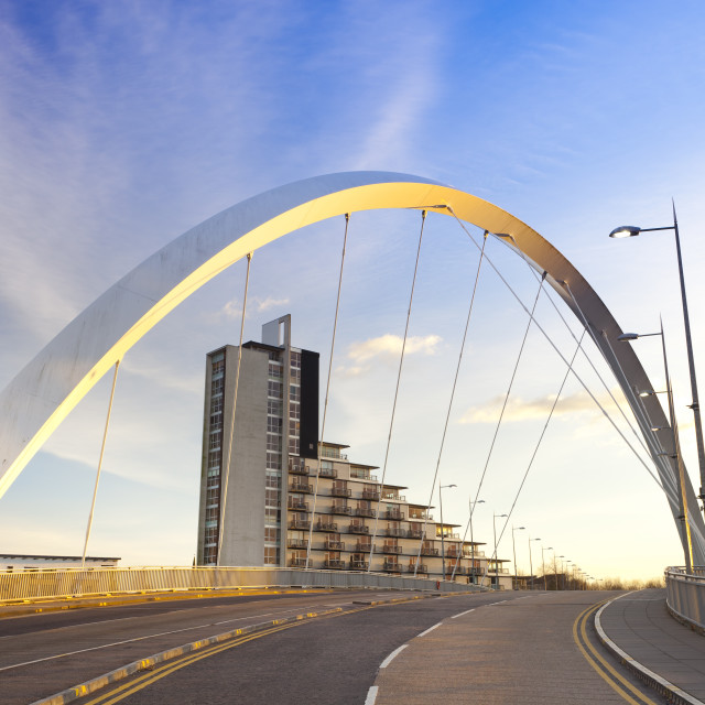 """Clyde Arc (Squinty Bridge), Finnieston, River Clyde, Glasgow, Scotland,..."" stock image"