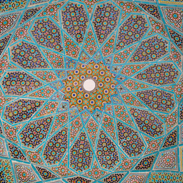 """Ceiling of Tomb of Hafez, Iran's most famous poet (1325-1389), Shiraz, Iran"" stock image"