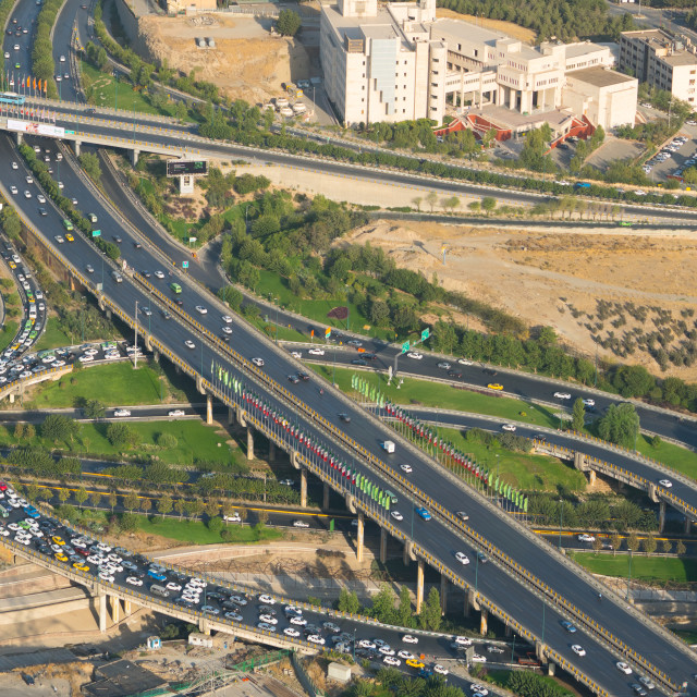 """Aerail view of yet another traffic jam, Tehran, Iran"" stock image"