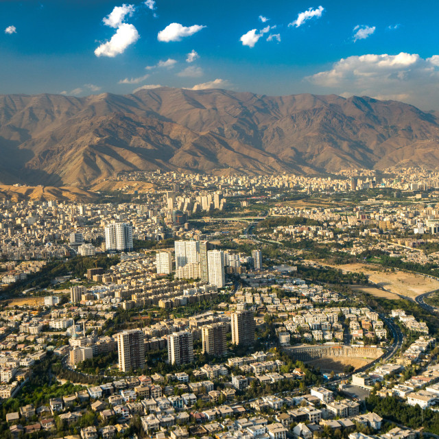 """Aerial view of Tehran facing North towards the Alborz Mountains, Tehran, Iran"" stock image"