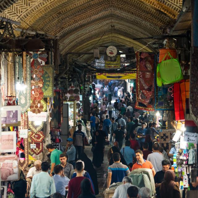 """Crowds at entrance of main Tehran Bazaar, Tehran, Iran"" stock image"
