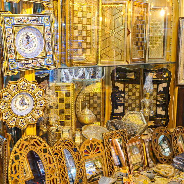 """Wooden boxes and clocks for sale, Grand Bazaar, Isfahan, Iran"" stock image"