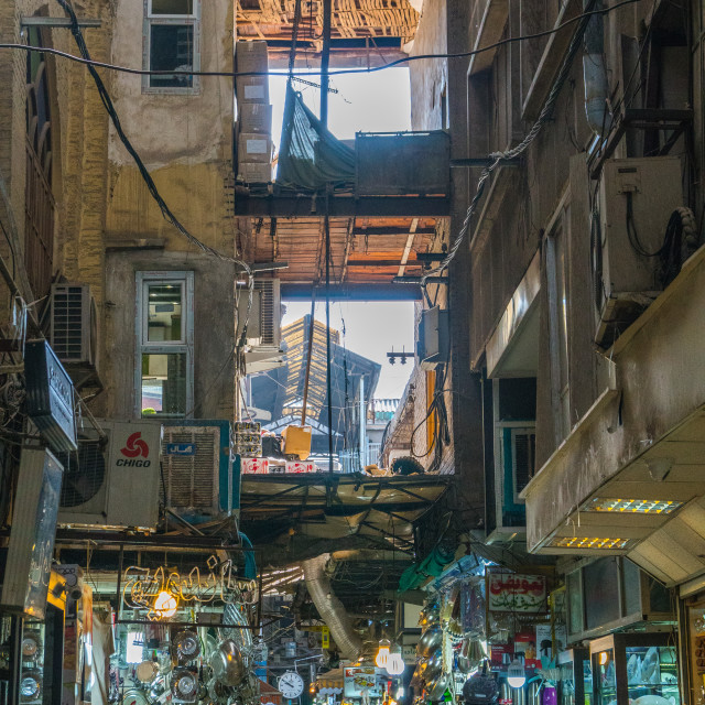 """Multi-storied section of main Tehran Bazaar, Tehran, Iran."" stock image"