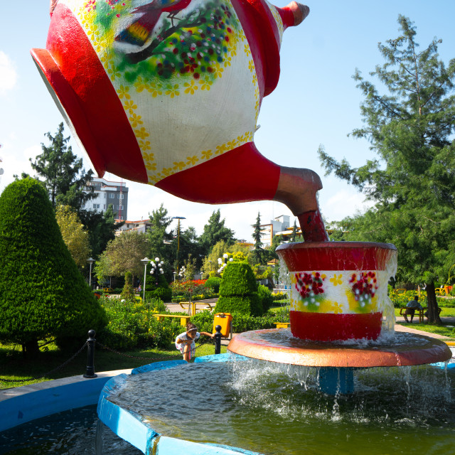 """Tea pot fountain at Lahijan, centre of Iran's tea industry, Iran"" stock image"