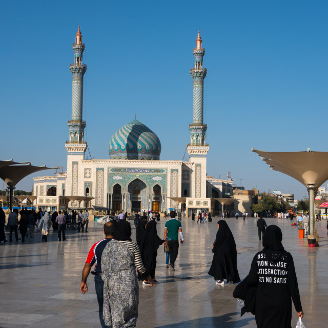 """Astane Square in front of the Imam Hassan Mosque, unusually challenging..."" stock image"