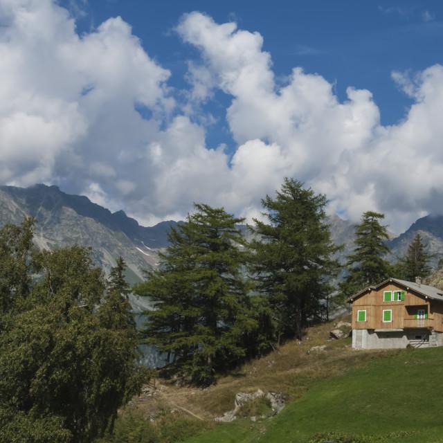 """Farm on the Col de la Forclaz, High Alps, Switzerland"" stock image"
