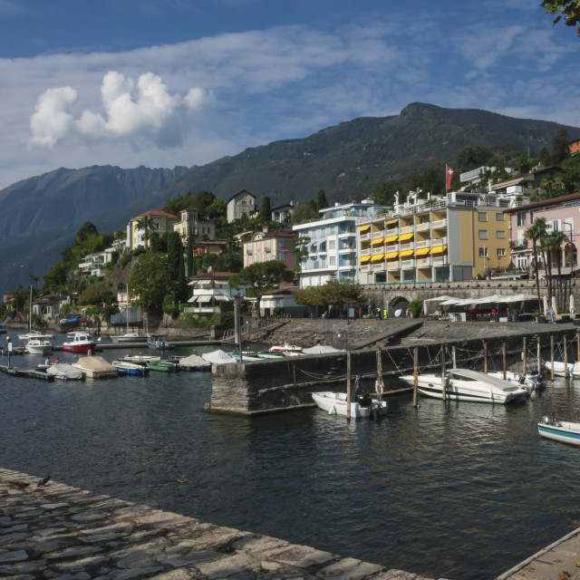 """Old Harbour, Ascona, Lake Maggiore, Italy"" stock image"