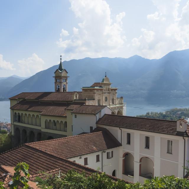 """""""Madonna del Sasso, Monastery, Orselina, Locarno, Lake Maggiore, Switzerland"""" stock image"""