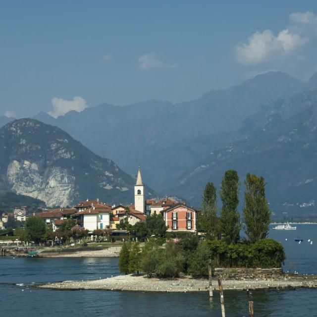 """""""Isola Pescatori, from Isola Bella, Lake Maggiore, Switzerland"""" stock image"""