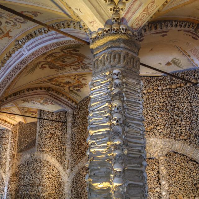 """Chapel of Bones, Royal Church of St Francis, Evora, UNESCO World Heritage..."" stock image"