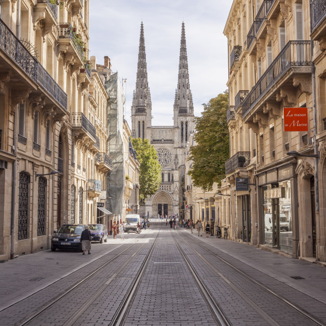 """Looking down rue Vital Carles to Saint Andre cathedral in Bordeaux, France."" stock image"