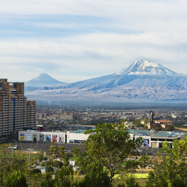 """View over Yerevan and Mount Ararat, Yerevan, Armenia, Caucasus, Asia"" stock image"