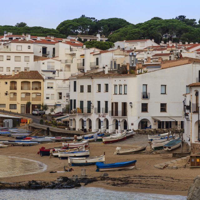 """""""Calella de Palafrugell, early morning, fishing boats on small beach, Costa..."""" stock image"""