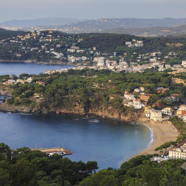 """Llafranc and Calella de Palafrugell, fabulous elevated view from Cap de Sant..."" stock image"