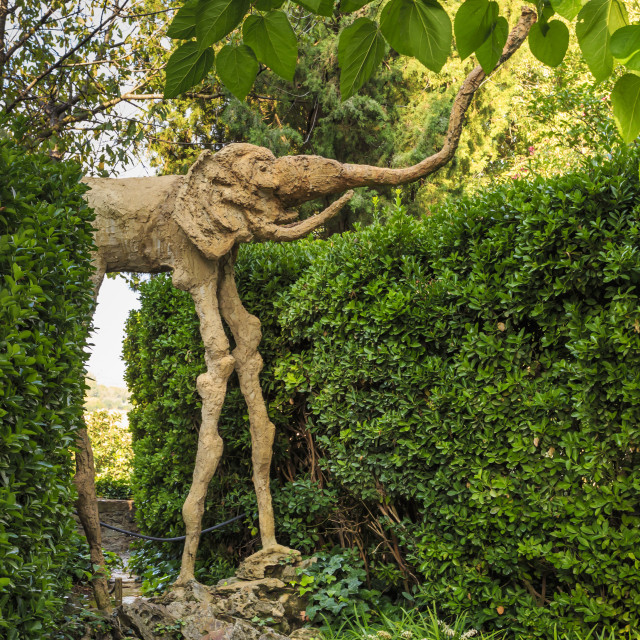"""""""Gala Dali Castle Museum, elephant statue in garden, medieval home museum of..."""" stock image"""