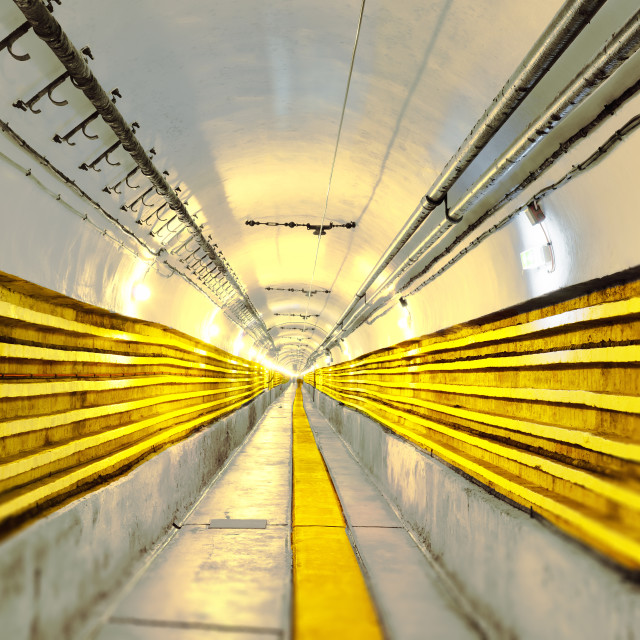 """""""Seemingly never ending main tunnel at Schoenenbourg Fortress, Bas-Rhin..."""" stock image"""