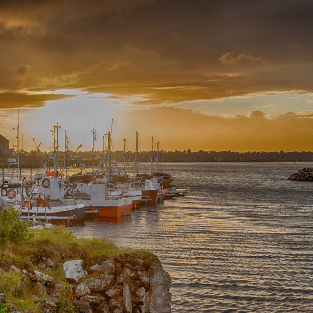 """""""Sunset from a harbor in Norway"""" stock image"""