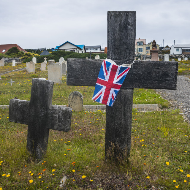 """Cemetery in Stanley, capital of the Falkland Islands, South America"" stock image"