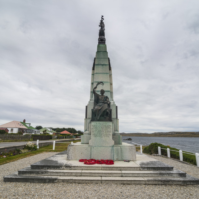 """Falklands War Memorial, Stanley, capital of the Falkland Islands, South America"" stock image"